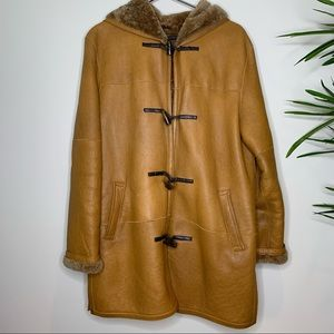 Andrew Marc Leather Shearling Cognac Hooded Coat